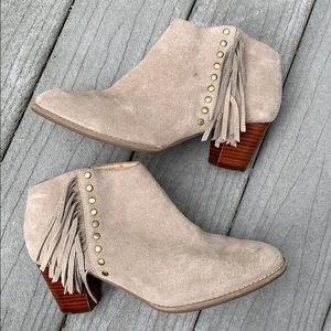 """Vionic """"Faros"""" suede Western Booties with fringe"""
